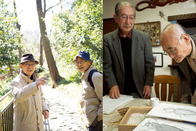 右/最近は、ホソカタムシなどの甲虫目の研究をしている青木さん。青木さんが顕微鏡をのぞいて描いた、ホソカタムシなどの絵を眺める二人。 左/青木さんの家から近い有栖川宮記念公園を散策する。