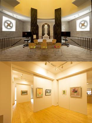 上の写真:旧本部会館の正面玄関内側に設置された七重塔。塔の七つの屋根は、以前、手前に設置されていた「白鳩の噴水」の水鉢の御影石から切り出されたもの 下の写真:「光明の塔」の1階の展示スペース。自然をテーマにした絵画や彫刻、写真などの展示を行う。2階、3階にも展示スペースが設けられている