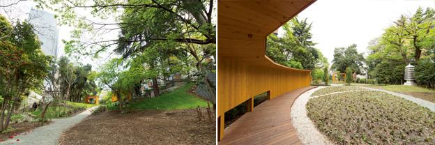 """左の写真:赤坂""""いのちの樹林""""を正面から見たもの。 右の写真:赤坂""""いのちの樹林""""の「円相庵」。その前には、武蔵野の森を代表するカタクリ、ヤブコウジなどが植えられている"""