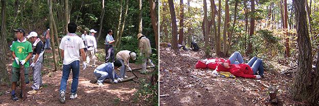 左:障害者の方々と一緒に、地域の放置林を手入れする活動の様子/右:森の中でのリラクセーション。木を見上げながら寝そべって静かに過ごす(どちらも写真は上原さん提供)