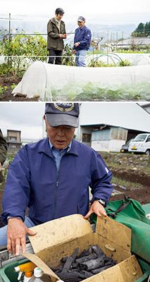 上/オーガニック野菜の作り方を指導する宮原さん。左はインタビュアーの小池さん 下/宮原さんの軽トラックには、竹酢液、木酢液、竹炭が常備されている