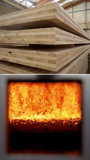 上:板の層を各層で互いに直交するように積層接着した厚型パネル、CLT/下:木くずをボイラーで燃焼させる(真庭バイオマス発電所)