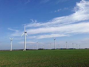 沖縄本島とほぼ同じ面積を持ち、自然エネルギー100パーセントのロラン島には、たくさんの風車が立ち並ぶ(写真提供:ニールセン北村朋子atree)