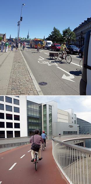 デンマークでは、自転車専用レーン(上)、自転車専用道路(下)が至るところにある(写真提供:ニールセン北村朋子atree)