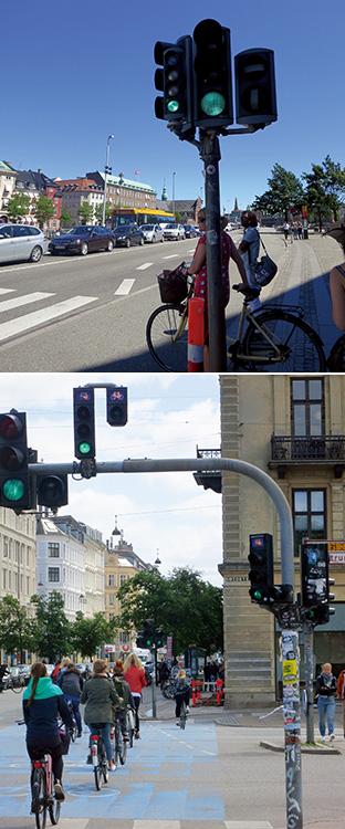 上/自転車専用の信号 下/信号に従い、ブルーの自転車専用レーンを走る人たち(写真提供:ニールセン北村朋子atree)