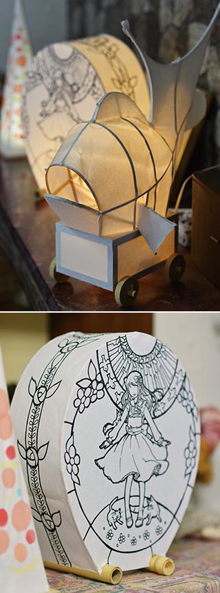 平野さんが作った灯籠に、友人がイラストを描いてくれた