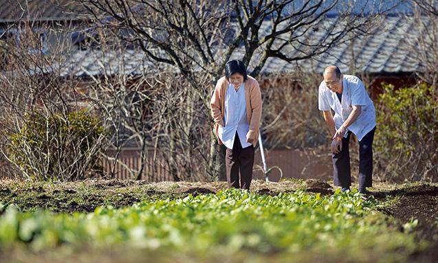 EM菌を使って野菜を栽培している畑で、妻のすみさんと