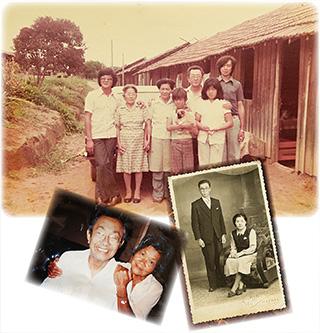 上/1970年代初めに撮った家族写真。中央が美佐代さん。前列にはケイコさんの父親のカツオさんも写っている 右下/三夫さんとの結婚写真。二人とも初々しい 左下/在りし日の三夫さんと美佐代さん