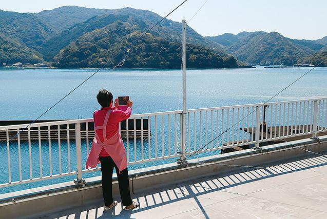 中平恵子さん 65歳・高知県土佐市 自宅のベランダから、タブレットで浦ノ内湾を撮影する中平さん