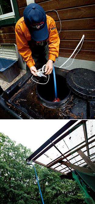 上:水洗トイレ用の雨水タンク/下:雨水を屋根からタンクに引くためのホース