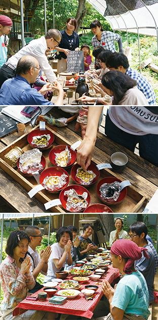 上:今まで知らなかった大豆の品種とその個性を知り、興味津々の参加者たち/中:試食会で提供された色も味わいも違う蒸し大豆/下:自然の恵みがいっぱいの野菜料理をいただく