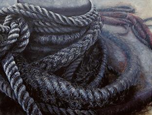 船止めの綱を描いた作品の一つ。静かに役目を全うする綱の存在に惹かれて描いたものだという