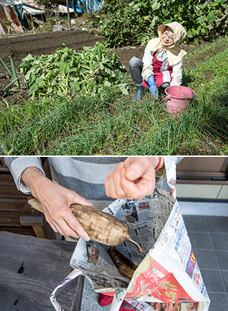 上:家庭菜園は150坪ほどあり、ここで採れる野菜が、川尻家の食をまかなっている/下:新聞紙で作るエコバッグ。家で採れた野菜などをプレゼントするのに便利だ