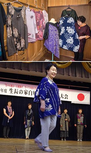 上:浴衣をリフォームした花柄が美しい夏のワンピースや、大正ちりめんや大島紬をほどいて作り直したドレスや上着の数々/下:昨年(2017)9月の生長の家白鳩会空知教区大会では、修子さんが自作したドレスのファッションショーが行われた