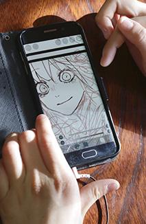 スマートフォンにイラストを描いていく