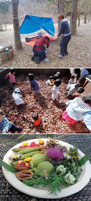 上:春に行われた野宿塾での一コマ。ビニールシートで寝床を作る/中:森の広場に設置された落ち葉プール。まほらの森キッズフェアで/下:子供たちが、森で見つけた花や木の実で作ったワンプレート