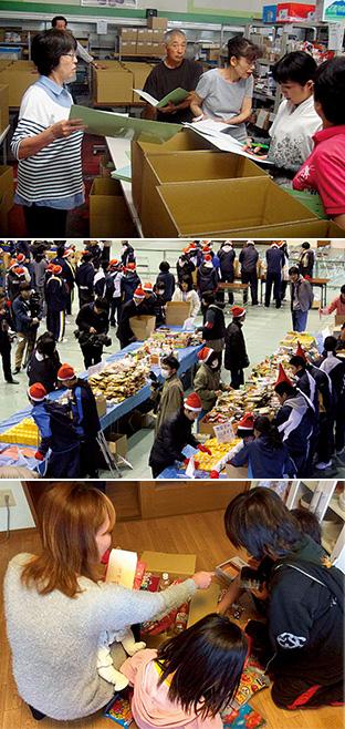 上/ボランティアの人たちが、食品の箱詰め作業を行う 中/昨年(2017)12月に行われた子ども支援プロジェクトの箱詰め作業(甲府東高校)。この時は約7トンの食料が集まり、582世帯に発送された 下/食料支援を受けた母親と子どもが一緒に箱を開けている様子(写真提供:フードバンク山梨)