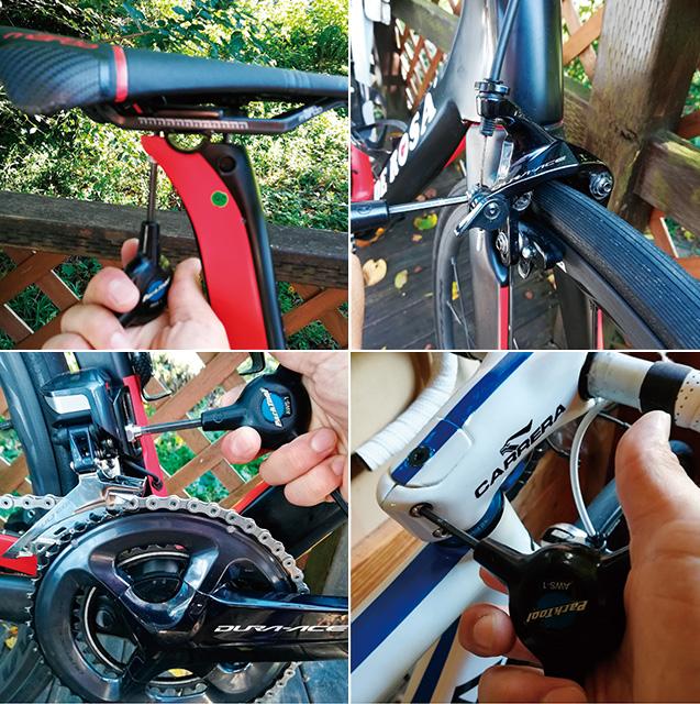 大切な自転車のケア。左上=サドルレールの調整 右上=ブレーキワイヤーボルトの増し締め 左下=フロントディレイラーボルトの増し締め 右下=ステムボルトの増し締め