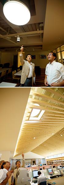 上:LEDと光ダクトによる自然採光を組み合わせた照明/下:天井、床、階段、社員の机には、小田原産のヒノキが使われている
