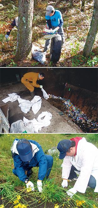 上:捨てられたタイヤも回収/中:回収されたゴミは分別され、可能な限りリサイクルされる/下:道路脇に生い茂ったオオキンケイギクの駆除活動