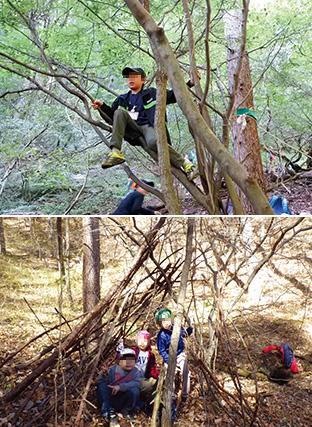 上:子どもたちは森で身体の使い方を学び、生きる力を培う/下:みんなで力を合わせて作った秘密基地を、得意げに見せる子ども