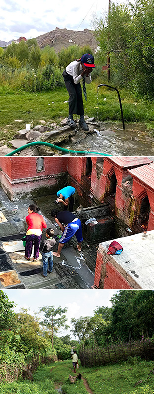 上:地下水を飲む少女。水使用の増加で水位が下がっているという。(インド)/中:カトマンドゥの共同水場。降雪量が減ったことが心配されている。(ネパール)/下:長い時間をかけ、水源に水を汲みに行く人(インド)=写真は、橋本淳司さん提供