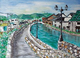 旅行で訪れた函館の町並みを描いた作品