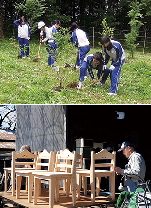 左:土に還る木 森づくりの会が管理する「再生の森」で、植樹活動に励む高校生たち(写真は、土に還る木 森づくりの会提供)/右:組み立てたイスに、丁寧にヤスリを掛けていく