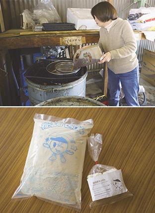 上/持ち込まれた食用油をドラム缶に移す/下:食用油が原料の「復活君せっけん」
