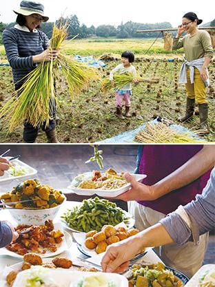上:子供たちは普段できない体験の連続に目を輝かせていた/下:昼食会に提供された、大豆と野菜が中心の素朴な料理