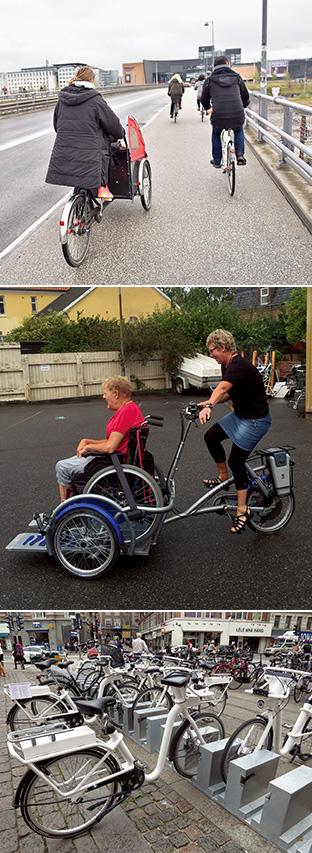 デンマークでは自転車の種類も豊富。人や物を載せる荷台が付いているクリチャニアバイク(上)、車椅子ごと乗せられる自転車(中)、ナビ付きのレンタル電動自転車(下)もある(写真提供:ニールセン北村朋子atree)