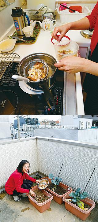 上:野菜や果物の皮はプラスチック容器に入れ、冷凍保存し、適量になったところで、味噌汁の出汁に使う/下:屋上のベランダに設けた家庭菜園。土作りのプランターには、生ゴミを入れる