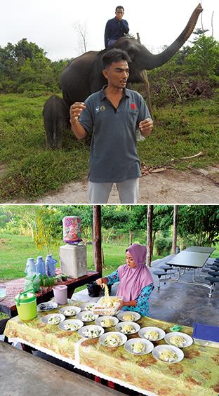 上:長年、地元でゾウ遣いをしてきたというスタッフ/下:朝食の準備風景。地元の女性が作ってくれた料理は、たっぷりの野菜と麺などに手作りピーナッツソースをかけたもの。おかわりしたいほどの味だった