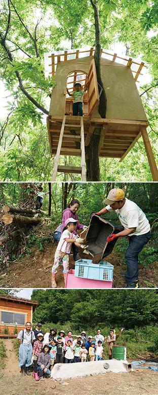 上:昨年のイベントで製作したツリーハウス。子供たちの秘密基地になっている/中:スコップで掘った山の土をふるいにかけ、粘土の材料にする/下:ヒートベンチの完成を祝い、集合した参加者たち