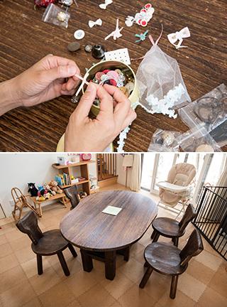 上:着なくなった服のボタンやリボンは取り外して、エプロンや別の衣類の飾りにする/下:世代を超えて使える物にもこだわっている。ダイニングテーブルと椅子は、桐製のしっかりした作りのものを選んだ