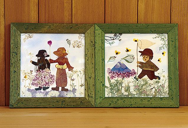 テーマは「草原の中での休日」。散歩する女の子2人と蝶々を追いかける男の子の楽しい休日をイメージして製作