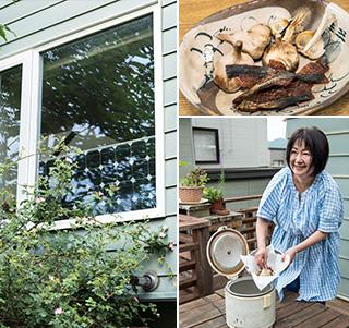 左:中古で購入した太陽電池パネルを窓辺に置き、ランプなどキッチン周辺の電気の一部をまかなっている/右:炊飯器で作る黒にんにくは、甘くてフルーティな味が絶品。手前は敦司さん手製の鮭とば