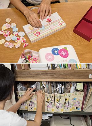上:取っておいた空き箱に、包装紙を切って作った花びらを両面テープで貼って飾りつけ、プレゼント用の箱として再利用する/下:知識を深めるために、ノーミートや環境問題などのテーマごとに、新聞などの記事を保存している