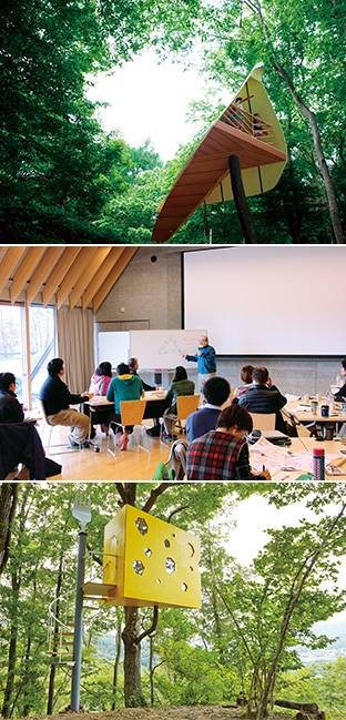 上:新緑の中では一際目を引くツリーハウス「チーズハウス」/中:屋内で行われた研修の一コマ。幅広い年代がセンターを訪れる/下:鳥を模したツリーハウス「birds eye view」
