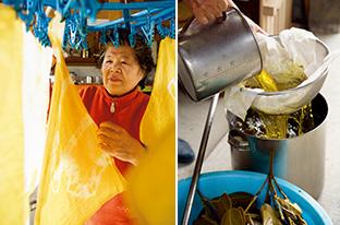 右:大きな鍋でフクギを煮出し、黄色の染料を取り出す/左:フクギの黄色の染料で染めた手ぬぐい。「染めに適した植物を探すため、島中のあらゆる植物で試してきました」