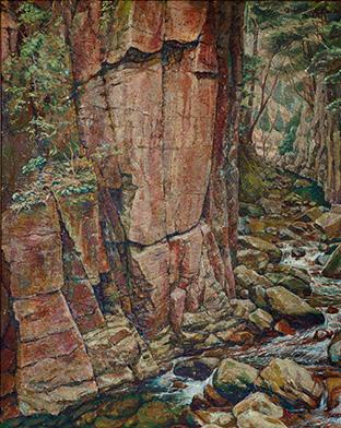 所属する美術団体の展覧会で賞に輝いた「渓谷」