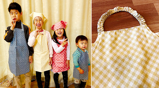 左:お母さんの手作りエプロンをつけた子どもたち/右:ゴムを通した首ひも
