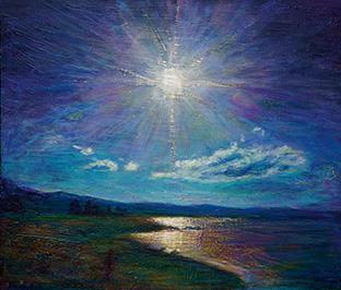 諏訪湖を描いた『湖畔の光』(10号)。昨年の生光展で、準会員奨励賞に輝いた