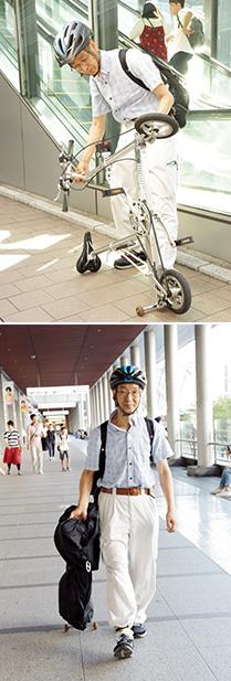上:組み立てと折りたたみは、見る間にパタパタっと済んでしまう。どちらも慣れれば20秒しかかからない/下:折りたたんだ自転車は、小さなキャスターで軽々と持ち運べる