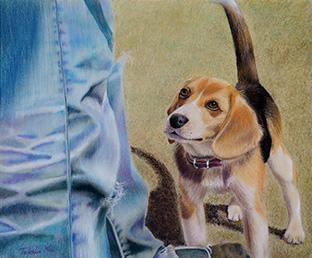 次男と愛犬が遊んでいる瞬間をいきいきと描いた作品