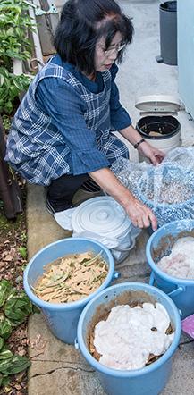 台所から出る生ゴミをポリバケツに入れて、ボカシを振りかけ、ビニール袋をかけて約2カ月間保管すると、表面にびっしりと白カビが生える