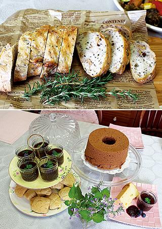 上:山崎さんがよく手作りするフォカッチャ/下:手作りのシフォンケーキやプルーンゼリー