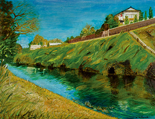 静岡県三島市の川沿いの風景