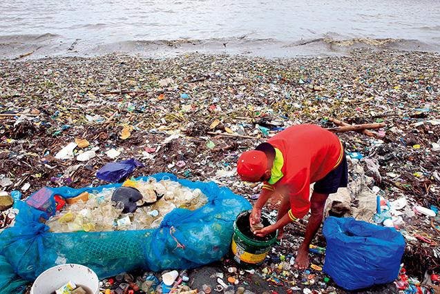 フィリピンのマニラ湾に打ち上げられたごみの中からプラスチックのカップを集める人。2016年8月(ロイター=共同)。このように、世界の海岸には膨大な量のプラスチックごみが打ち寄せられている