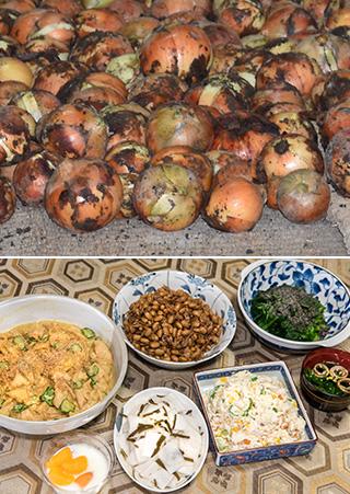 上:収穫したタマネギは倉庫に保管。差し上げたり、教化部で料理に使ってもらっている(写真提供:Kさん)/下:農作業の後は、皆が持ち寄ったノーミート料理でご苦労様会。丁字麩のからし酢みそ和え、エビと大豆の煮物、カブの酢漬け、ホウレンソウのごま煮浸しなどがずらり